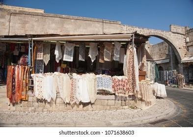 The street market in Corfu Greece. Handmade scarfs for women.