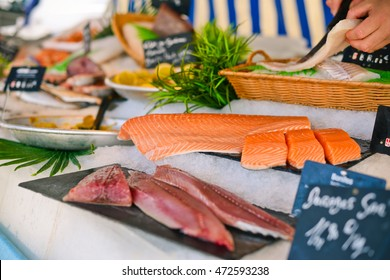Street market in France: selling raw fish