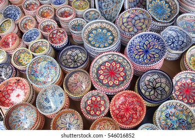 Street market. Hand made and painted bowls from Morocco.