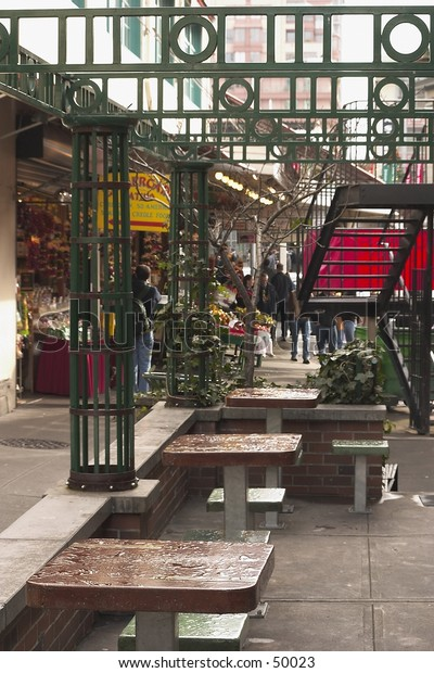 street market and seating area