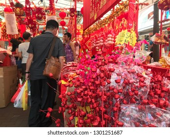 Street market selling chinese new year decorations in Clementi, Singapore on February 1st 2019