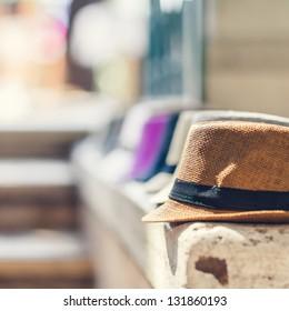 Street Market Selling Italian Hats in Rome (shallow depth of field)