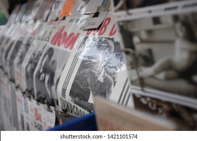 Street market stalls in Paris France 2018