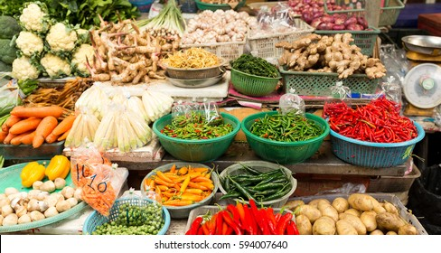 Street market with variety vegetable