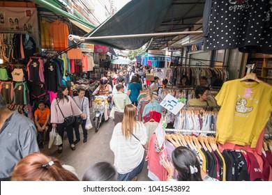 Street Market in Wang Lang in Thonburi in the city of Bangkok in Thailand.  Thailand, Bangkok, November, 2017