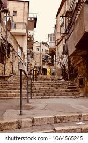 In the street of Meah Shearim quarter in Jerusalem. Israel.