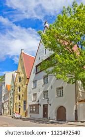 Street with medieval houses in old Tallinn, Estonia
