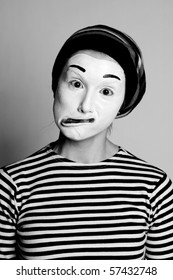 Street mime. Isolated on white.