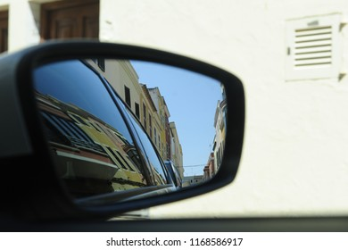 Street of Minorca from a carmirror