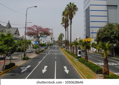 Street in Miraflores district, Lima, Peru.