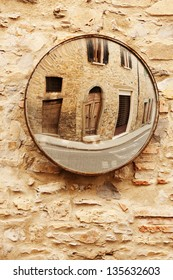 street in the mirror