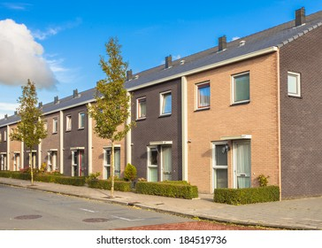 Street of Modern Family Houses in Europe