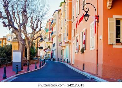 Street in Monaco Village in Monaco Monte Carlo, daytime