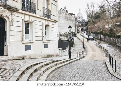 Street of Montmartre in Paris
