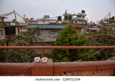 Street morning life in the city Kathmandu, Nepal, Asia. Tea time on the roof