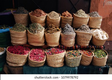 Street moroccan stall with dried herbs and petals, Marrakesh