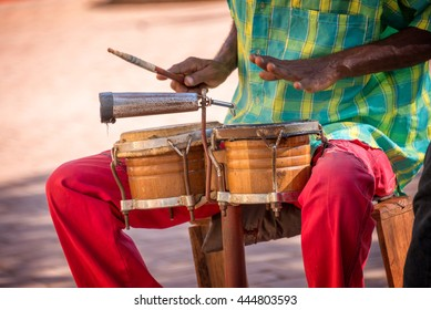 Street musician playing drums in Trinidad, Cuba