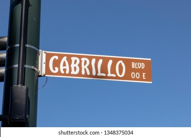 street name cabrillo Boulevard in Santa Barbara and brown color under blue sky