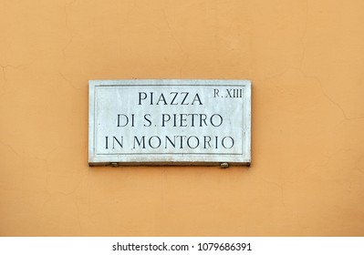 "street name carved in stone in Rome Translation: ""Square of San Pietro in Montorio"""