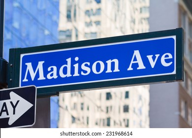 Street name sign of Madison Avenue in Manhattan, New York, USA.