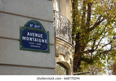 Street name sign in Paris, France (avenue Montaigne)
