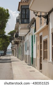 Street near with Mediterranean sea in Portocristo, Majorca, Spain