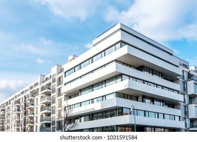 street with new residential buildings in Berlin