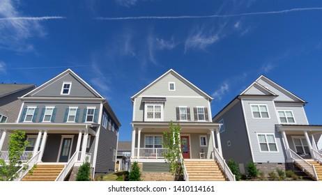 Street of new suburban homes