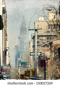 Street in New York City . View to Chrysler building. Texture added to create retro atmosphere.