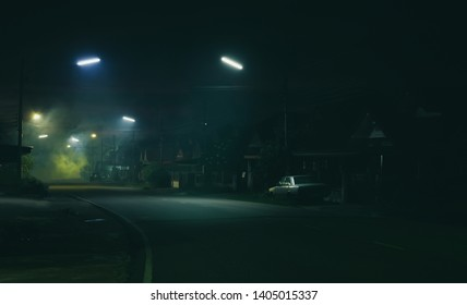 Street night scene and smoke background