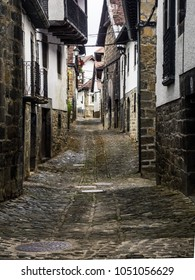 Street of Ochagavia. A Spanish village located in the Pyrenees. Typical street of the Navarrese town