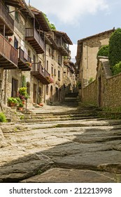 street of old Catalan village in Pyrenees. Rupit, Spain