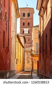 street in the old center of Asti, Piedmont, Italy