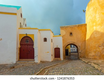 Street in old city El Jadida, Morocco. Historical heritage, portuguese fortress on the coast of Atlantic ocean.