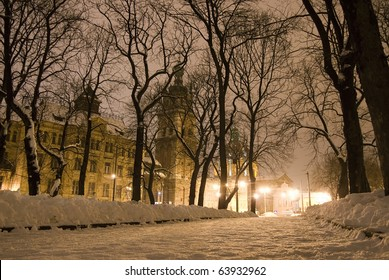 Street of the old city in the winter night