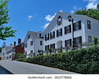 Street of old colonial houses in Plymouth, Massachusetts