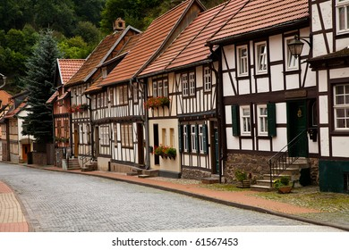 Street with old half-timbered houses