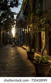 Street in Old Havana at the sunset