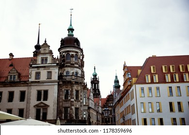 street with old historical and modern buildings in Dresden, Germany