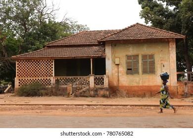 Street and old houses of bafata in guinea bissau. The picture has been taken on 6th may 2016.