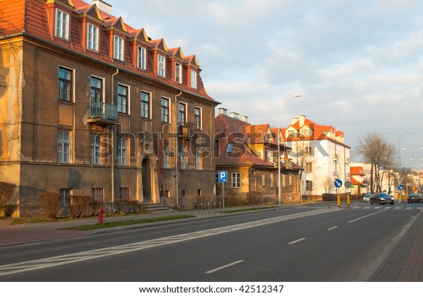 street with old houses  in Bialystok. Poland