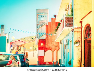 Street with old houses in Villasimius, Cagliary province, in South Sardinia in Italy
