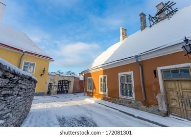 street in old part of Tallinn city, Estonia