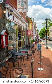 Street in old town, central Leesburg, Virginia, USA on 15 May 2019