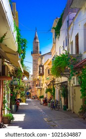 Street in the old town of Chania, Crete, Greece on April 11, 2017.