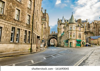 A Street in Old Town Edinburgh on Sunny Winter Day