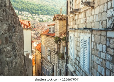 The street of Old town in Europe on coast of Adriatic Sea. Dubrovnik. Croatia.