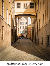 Street of old town, Gamla Stan, in Stockholm, Sweden, Scandinavia, Europe