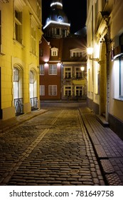 Street in Old Town Riga at night