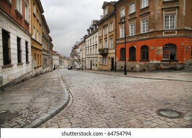 Street in the old town of Warsaw - capital city of Poland